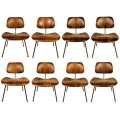 Rare Set of Eight Herman Miller Eames DCM Dining Chairs in Rosewood