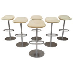 Six Cream Leather Walter Knoll Turtle Bar Counter Stools Chrome Steel Fiberglass