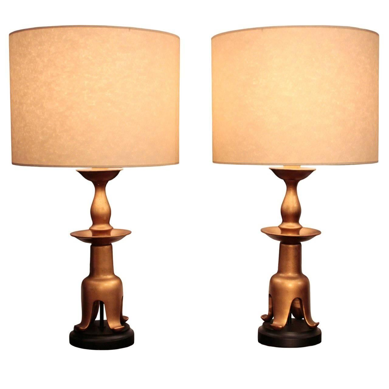 Pair Of American Large Gilt Lacquered Table Lamps, Possibly By James Mont  For Sale