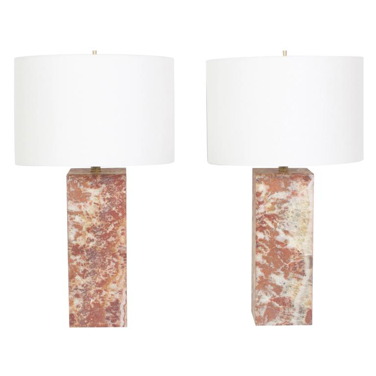 Pair Of Mid Century Modern Marble Table Lamps