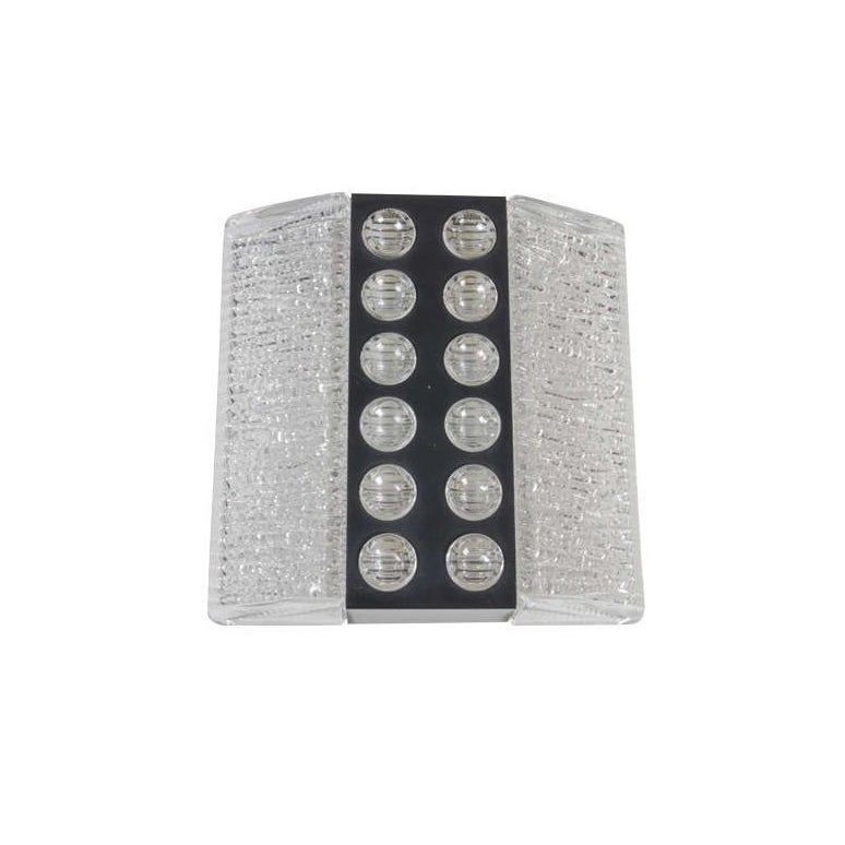 One Mid-Century textured glass and metal sconce by Kaiser Leuchten
