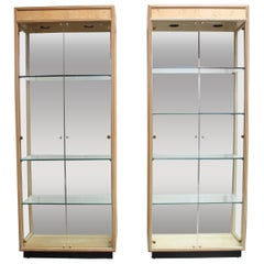 Pair of Vintage Henredon Illuminated Display Cabinets in Olive Burl