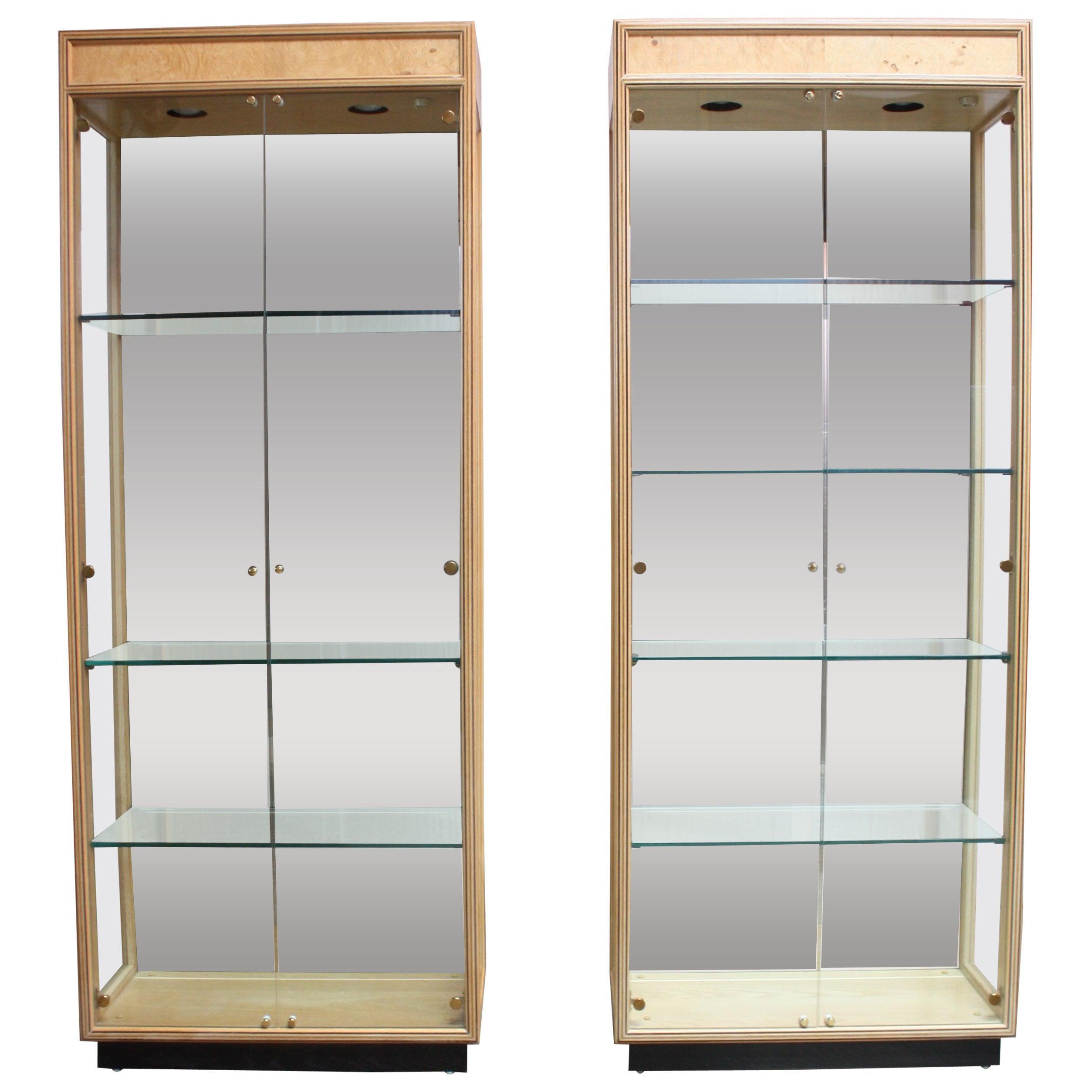 Pair of Vintage Henredon Illuminated Display Cabinets in Olive Burl
