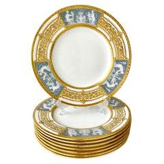 Eight Minton Porcelain Pate-sur-Pate Plates Signed Alboin Birks