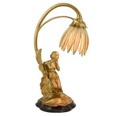 Art Nouveau Gilt Bronze Lamp with Nude by Maurice Bouval, Colin Foundry 1900