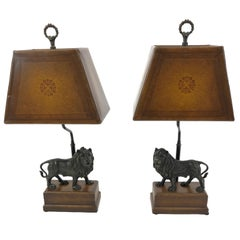 Majestic Pair of Bronze Lion Table Lamps with Leather Shades