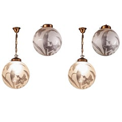 Four Liberty Engraved Glass Sphere Chandeliers or Lanterns, Italy, 1940