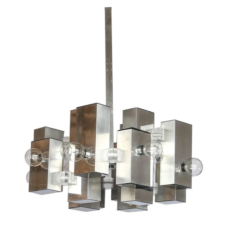 Mid Century Modern Gaetano Sciolari Mod Chrome & Lucite Geometric Chandelier