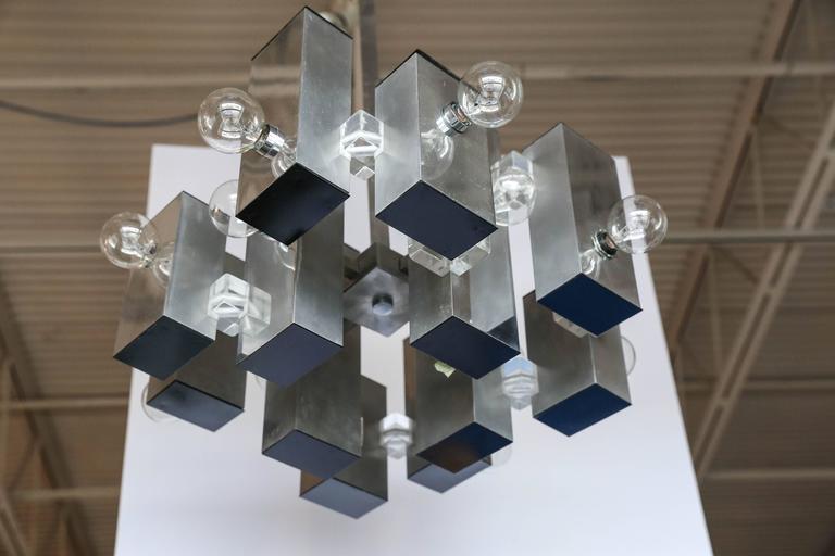 Mid-Century Modern Gaetano Sciolari Mod Chrome & Lucite Geometric Chandelier For Sale 3