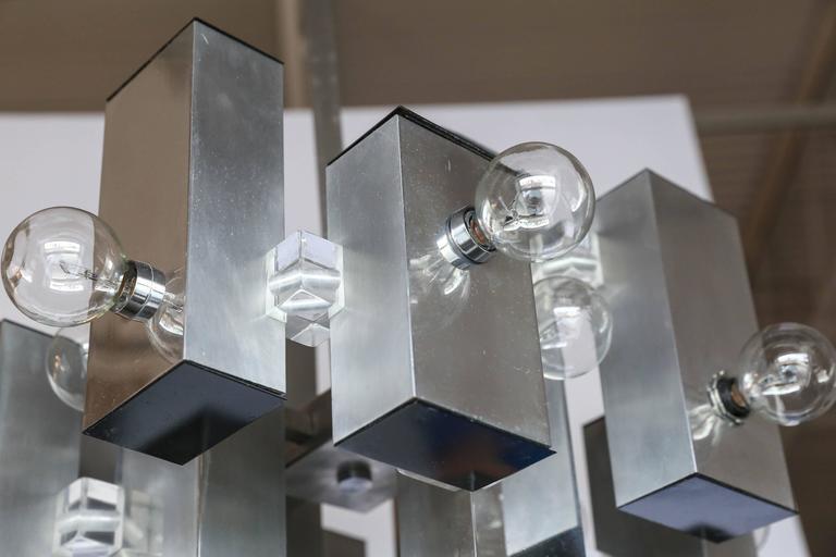 Mid-Century Modern Gaetano Sciolari Mod Chrome & Lucite Geometric Chandelier For Sale 2