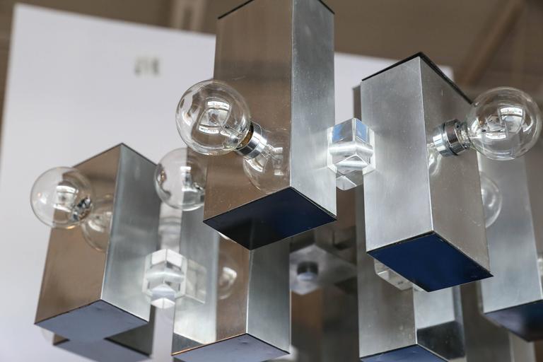 Mid-Century Modern Gaetano Sciolari Mod Chrome & Lucite Geometric Chandelier For Sale 1