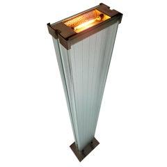 Signed Stilnovo Tall Halogen Glass Uplighter Floor Lamp, 1980, Italy