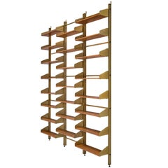 Classic Italian Brassed and Teak Wall Unit by Feal