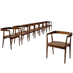 Joaquim Tenreiro Large Set of Jacaranda and Cane Chairs