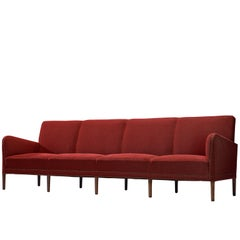 Extremely Large Sofa in Red Fabric by Danish Cabinetmaker