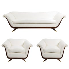 Salon Set of Sofa and Pair of Armchairs Attributed to Guglielmo Ulrich