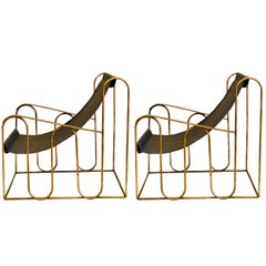 Pair of French Mid-Century Modern Gilt Iron Lounge Chairs, Style of Jean Royere