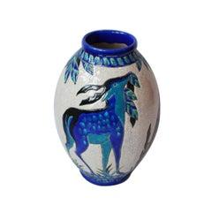 Boch Freres 'Biches Bleues' Vase