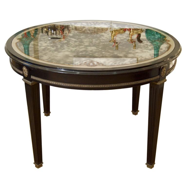Jansen (Stamped) Black Lacquer Center/Dining Table with Eglomisé Glass Top