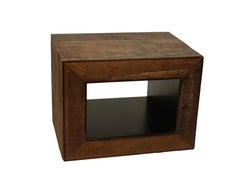 Repurposed Wood Cube Table with Lacquered Open Shelf