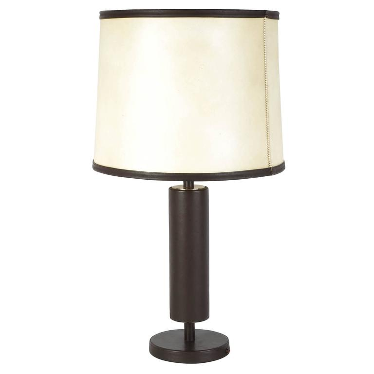 French Leather Table Lamp, circa 1940s