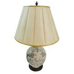 20th Century French Hand Painted Table Lamp on a Wood Base