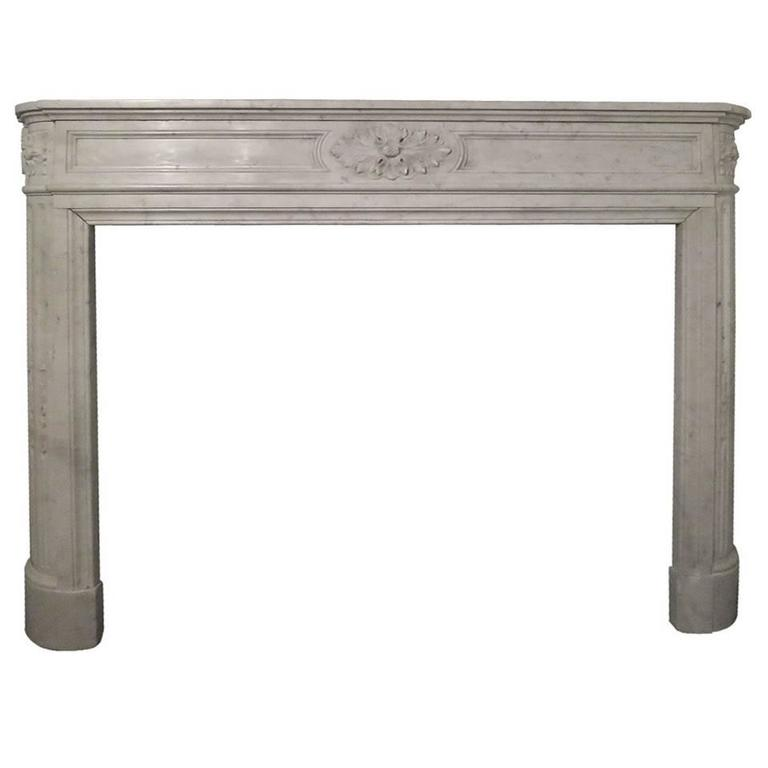 19th Century Louis XVI Style Carrara Marble Fireplace Mantel