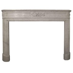 19th Century Louis XVI Style Carrara Marble Fireplace Mantel