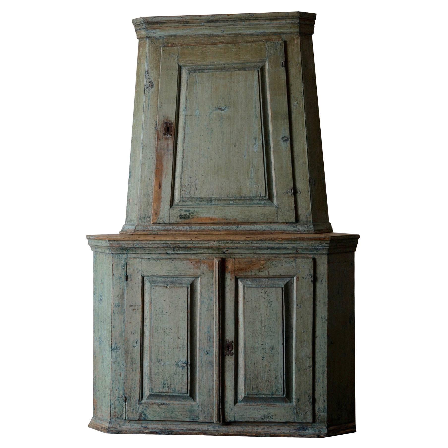 Cabinet Cupboard Corner Swedish Baroque 18th Century Original Paint Green Sweden
