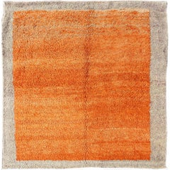 Squared Size Unique Minimalist Tulu in Shades of Orange colors and Taupe Border