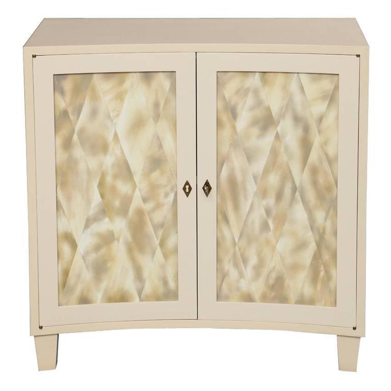 Liz O'Brien Editions Two-Door Cabinet in Faux Ivory Horn Finish