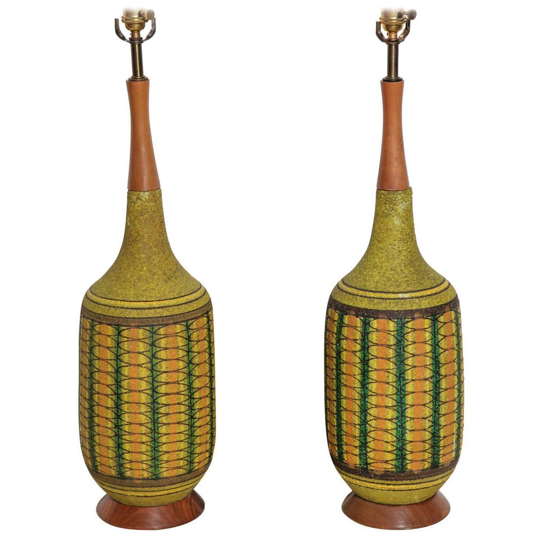 Modern ceramic table lamps - Monumental Pair Aldo Londi For Bitossi Patterned Olive Green Ceramic Table Lamps