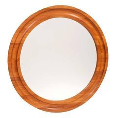 Danish Teak Round Mirror