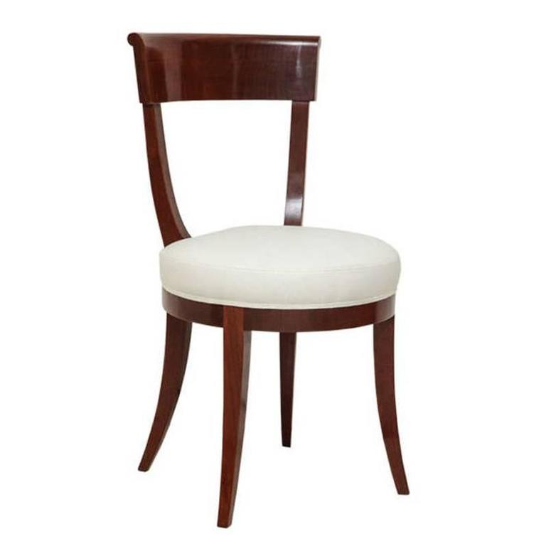 Walnut Chair with Curved Back and Round Upholstered Seat