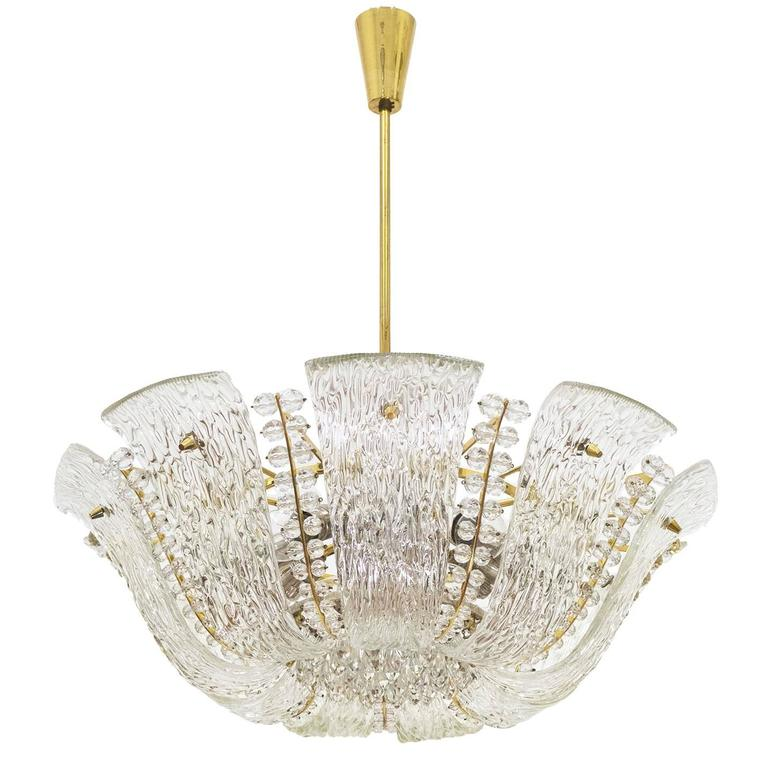 Large Textured and Crystal Glass Chandelier by J.T. Kalmar 1