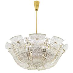 Large Textured and Crystal Glass Chandelier by J.T. Kalmar