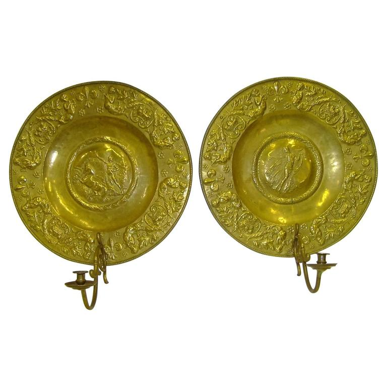 19th Century Pair of French Polished Brass Plaque Sconces