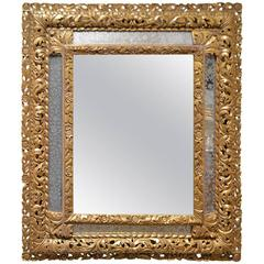 17th Century Louis XIII French Antique Gilded Mirror with Original Lateral Glass