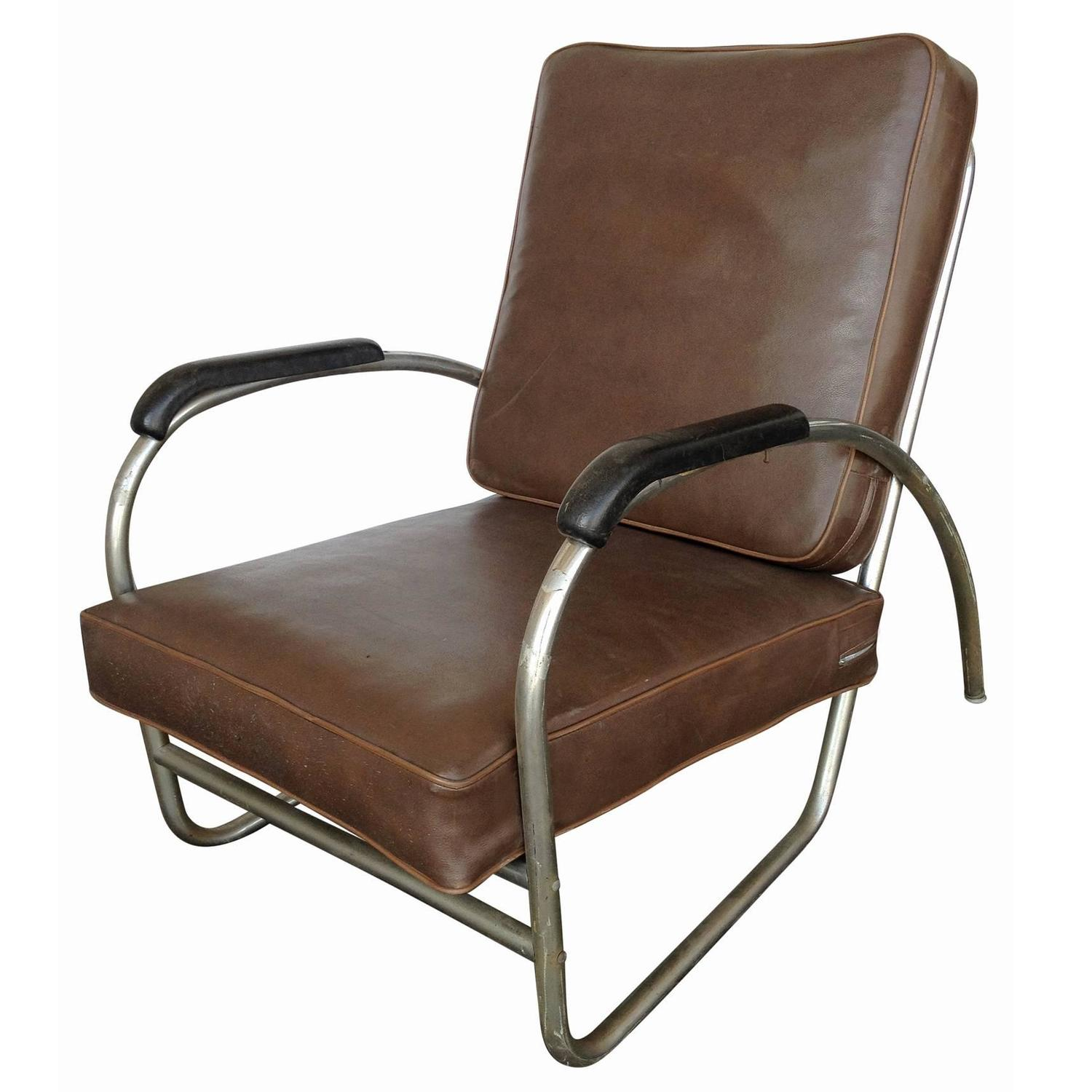 Metal outdoor club chairs - Wolfgang Hoffmann Style Chrome Club Chair By Royal Metal For Sale At 1stdibs