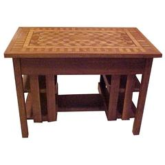 Arts & Crafts Stickley Mission Desk Writing Library Table Marquetry Top
