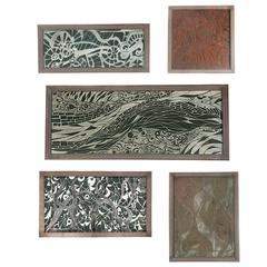 Five 1950s Linoleum Engravings by Chicago Artist Helen Leibhardt