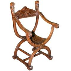 Savonarola Chair in Oak, Renaissance Revival