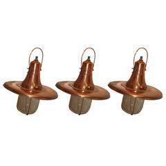 Set of Three 20th Century Hanging Copper Pendant Lights