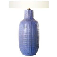 Design Technics Periwinkle Ceramic Incised Table Lamp, 1960s