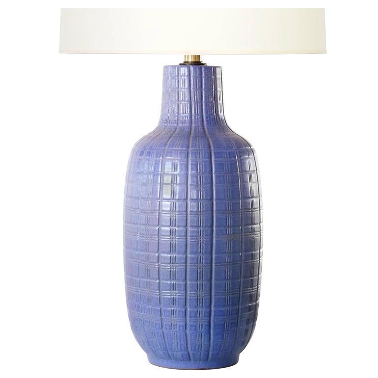Design Technics Periwinkle Ceramic Incised Table Lamp, 1960s For Sale