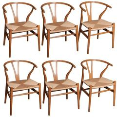 Six Wishbone Dining Chairs Designed by Hans Wegner And Produced by Carl Hansen
