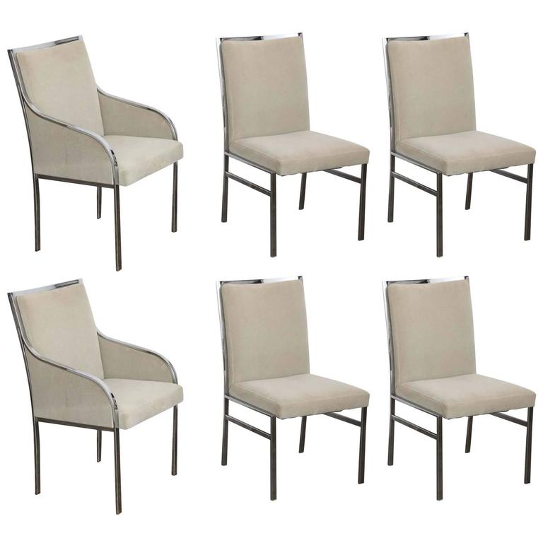 S/6 Mid Century Modern Style of Pierre Cardin Chrome Dining Chairs