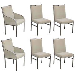 S/6 Mid Century Modern Pierre Cardin Chrome Dining Chairs