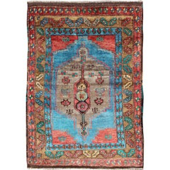 Stunning Blue Vintage Oushak Small Rug in Bright Blue Background