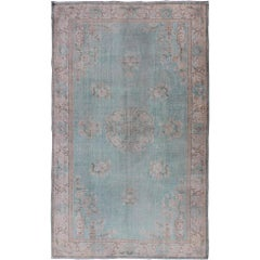 Vintage Turkish Rug with Khotan Design in Sea Foam Blue, Taupe and Light Brown